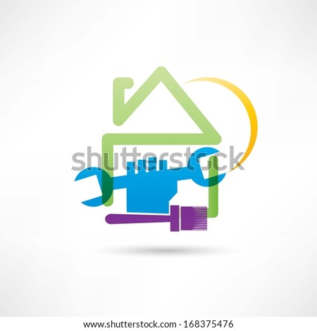 plumbing house painting house icon - stock vector