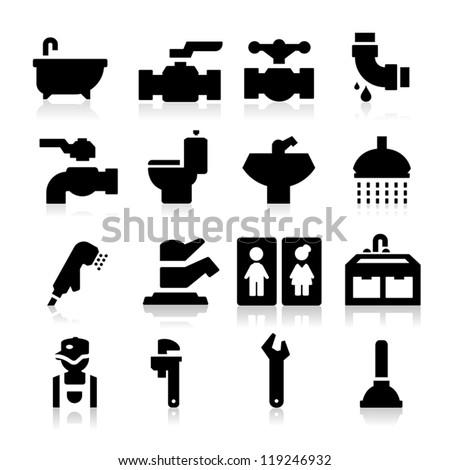 Plumbing icons - stock vector