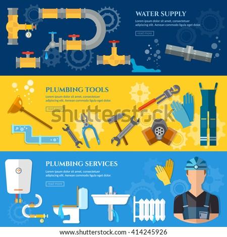 Plumbing repair service banner professional plumber different tools and accessories plumber repairing vector illustration - stock vector
