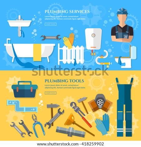 Plumbing repair service banner professional plumber water pipe repair plumber work plumbing and heating vector illustration - stock vector