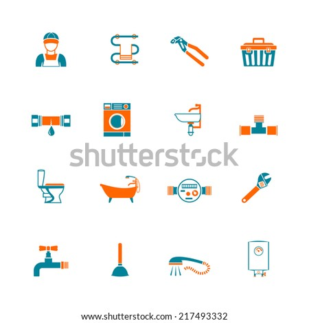 Plumbing service water fixtures toolbox icons set isolated vector illustration - stock vector