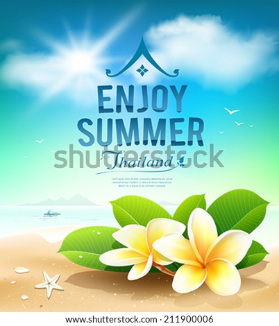 Plumeria flowers, enjoy summer greeting card on beach Thailand, shells, sea background. Vector illustration - stock vector