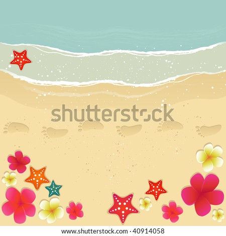 Plumerias, starfishes and footprints on the sand.