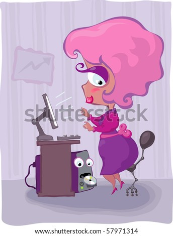 Plump young woman working at a computer in the office. Under the table sits a ridiculous PC case - stock vector