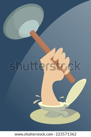 Plunger in the plumber hand appears out of the closet bowl - stock vector