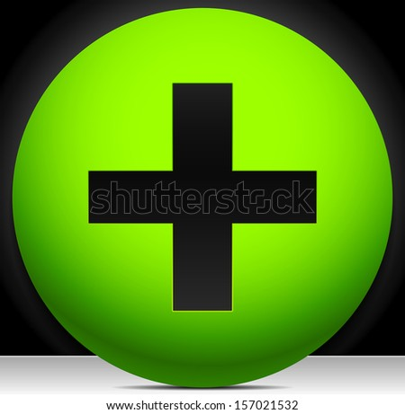 Plus, addition, positive, cross sign/symbol on green - modern tech icon - stock vector