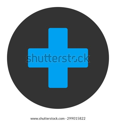 Plus icon from Primitive Round Buttons OverColor Set. This round flat button is drawn with blue and gray colors on a white background. - stock vector