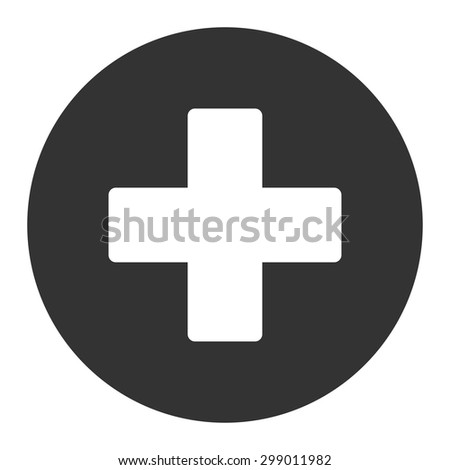 Plus icon from Primitive Round Buttons OverColor Set. This round flat button is drawn with white and gray colors on a white background. - stock vector