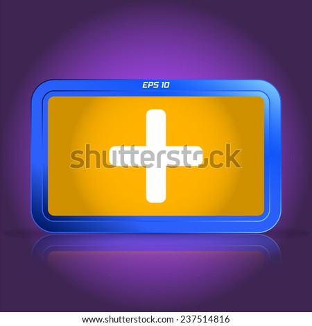 Plus icon. Specular reflection. Made vector illustration - stock vector