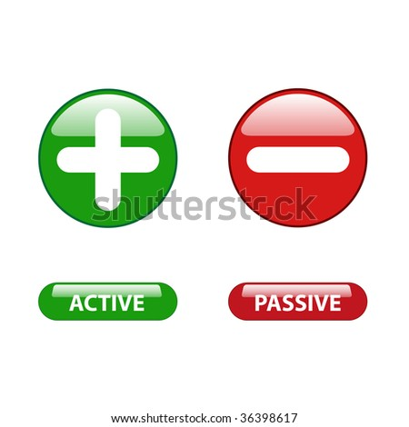plus minus and active passive web buttons - stock vector