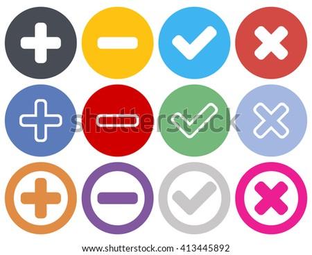 Plus, minus, check, cross icons - stock vector