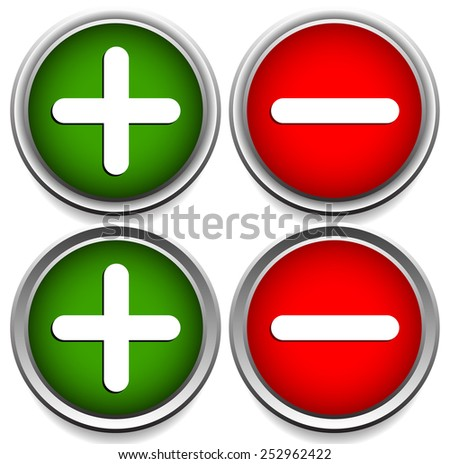 Plus, minus sign, symbol set with 2 different versions. - stock vector
