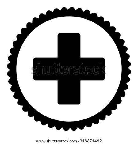 Plus round stamp icon. This flat vector symbol is drawn with black color on a white background. - stock vector