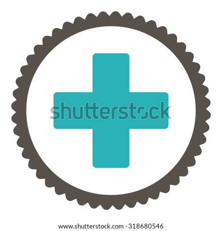 Plus round stamp icon. This flat vector symbol is drawn with grey and cyan colors on a white background. - stock vector