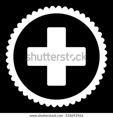 Plus round stamp icon. This flat vector symbol is drawn with white color on a black background. - stock vector