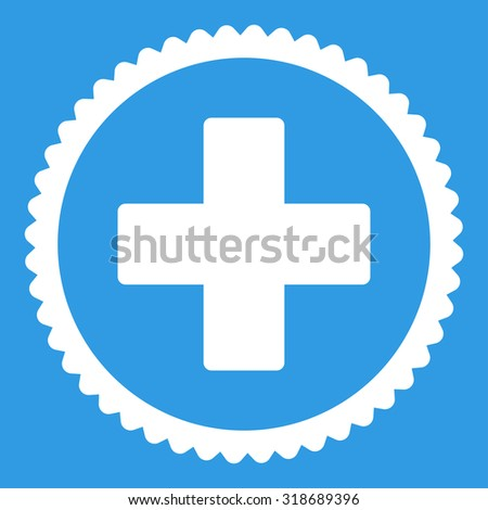 Plus round stamp icon. This flat vector symbol is drawn with white color on a blue background. - stock vector