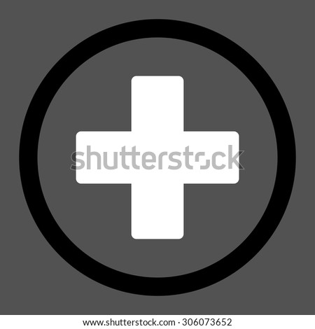 Plus vector icon. This rounded flat symbol is drawn with black and white colors on a gray background. - stock vector