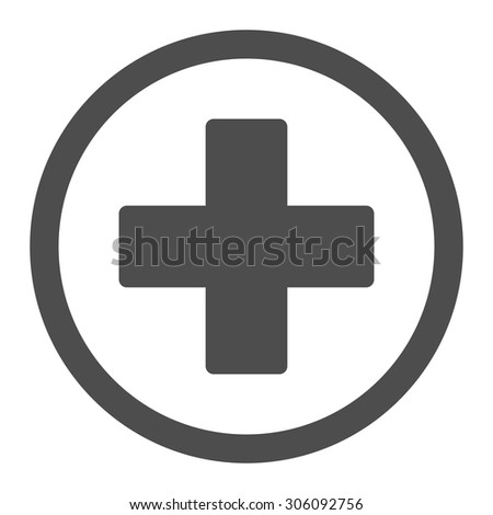 Plus vector icon. This rounded flat symbol is drawn with gray color on a white background. - stock vector