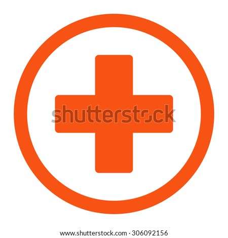 Plus vector icon. This rounded flat symbol is drawn with orange color on a white background. - stock vector