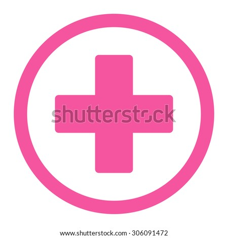 Plus vector icon. This rounded flat symbol is drawn with pink color on a white background. - stock vector