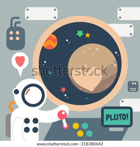 Pluto Planet discover , Flat Design Elements. Vector Illustration. - stock vector