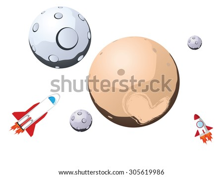 Pluto planet with satellites and space ships.