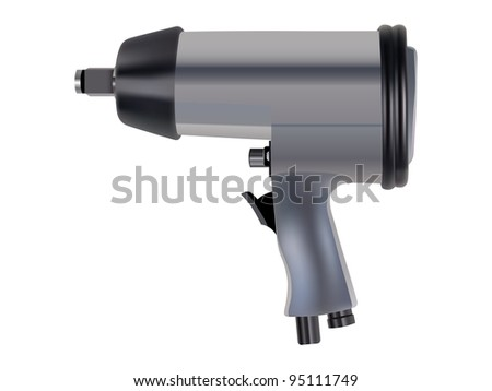 Pneumatic wrench isolated over white background - stock vector