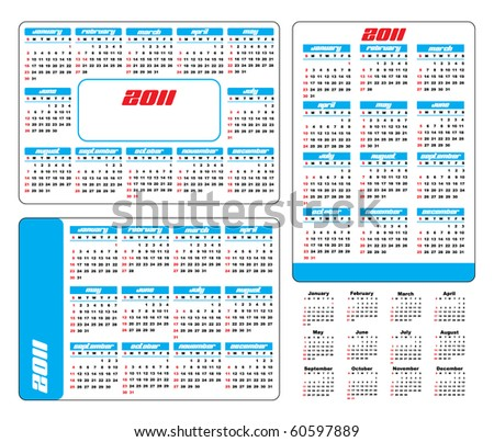 Pocket Calendar 2011 vector England - stock vector
