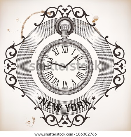 Pocket clock card - stock vector