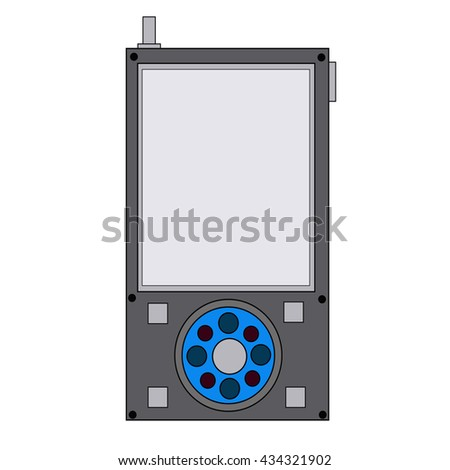 pocket player loud sound quality bright touchscreen button display. music player logo, music player vector, music player icon, music player isolated button logo, button vector, button icon, radio logo - stock vector
