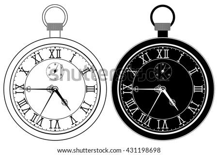 Pocket Watch Clock Face Roman Numerals Stock Vector