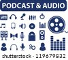 podcast & audio signs, icons set, vector - stock photo