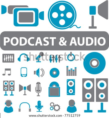 podcast & audio signs, icons, vector illustrations - stock vector