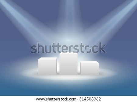 Podium for the winners. Awards Ceremony. Vector Image - stock vector
