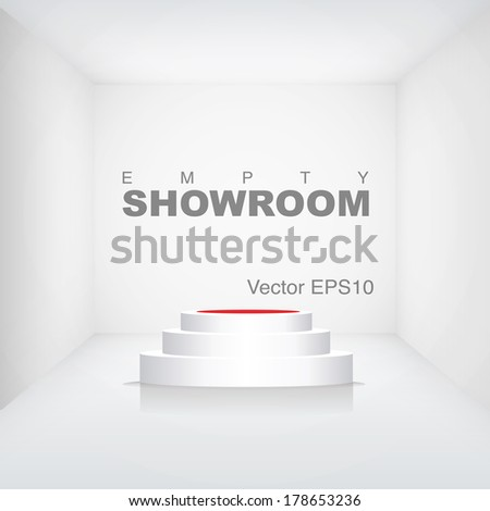 podium in a room - stock vector