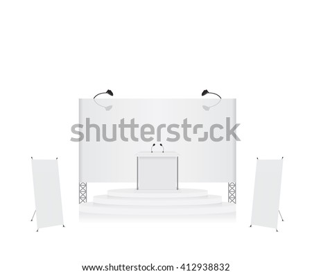 Podium trade exhibition stand and x-stand banner illustration - stock vector
