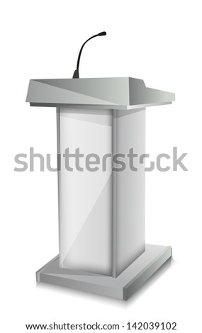 Podium with mic - stock vector