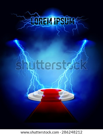 Podium with red carpet and lightning strikes - stock vector