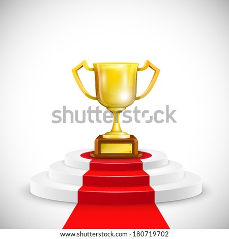 Podium With Red Carpet And Trophy Cup. Vector Illustration. - stock vector