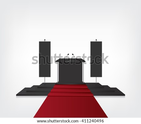 Podium with red carpet for award ceremony and flag black