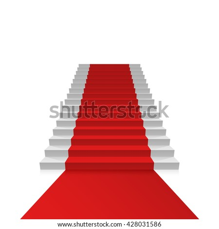 Podium with red carpet, Red stairs background, Vector illustration