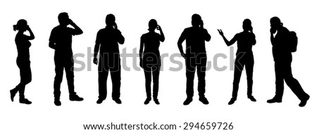 poeple calling silhouettes on the white background - stock vector