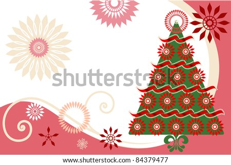 Poinsettia christmas tree with snowflakes flowers - stock vector