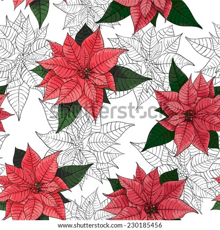 Poinsettia flower background for invitation or congratulation card - stock vector