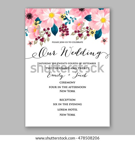 Poinsettia Wedding Invitation Sample Card Beautiful Vector – Invitation to Party Sample