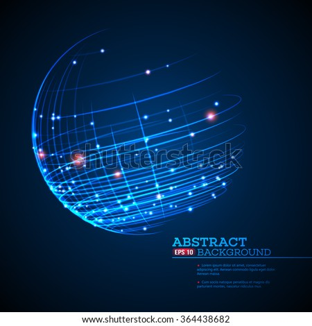 Point and curve constructed the sphere wireframe, technological sense abstract background. Vector illustration EPS10 - stock vector