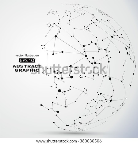 Point and line constructed the technological sense abstract illustration. - stock vector
