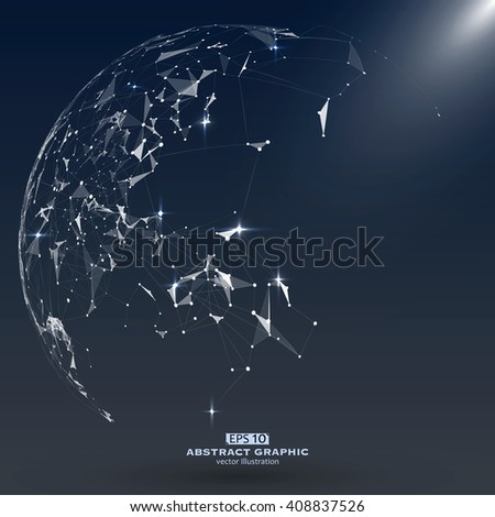 Point, Line and constitute an abstract map of the world, a sense of science and technology. - stock vector
