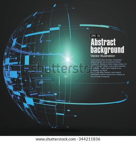 Point, line, surface formed wireframe sphere, science and technology abstract illustration. - stock vector