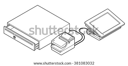 Point of sale (POS) equipment: a touchscreen cash register connected to a cash drawer via a receipt printer. - stock vector